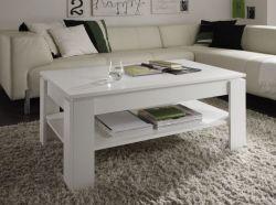 Wohnzimmer: Couchtisch Universal weiß (110 x 65 cm) mit Ablage