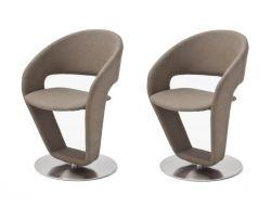 2 x Stuhl Firona in Taupe Kunstleder und Edelstahl Tellerfuß 360° drehbar Esszimmerstuhl 2er Set Drehstuhl