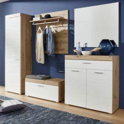 Garderobe Amanda 5-teilig Hochglanz weiß und Eiche 257 x 195 cm