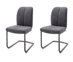 2 x Stuhl Tessera in Grau Kunstleder und Freischwinger Anthrazit lackiert Esszimmerstuhl 2er Set