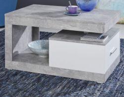 Couchtisch in Stone Design grau und weiß Wohnzimmertisch 90 x 55 cm mit Schubkasten und Ablage
