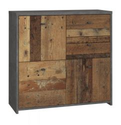 Kommode Best Chest in Old Used Wood Shabby mit Betonoptik grau Vintage Anrichte 77 x 77 cm