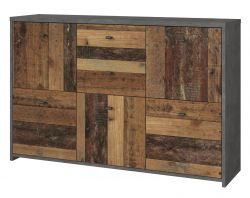 Kommode Best Chest in Old Used Wood Shabby mit grau in Betonoptik (114 x 77 cm)