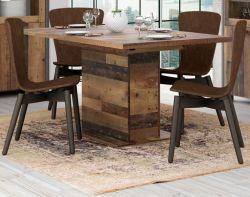 Esstisch Clif in Old Used Wood Shabby Esszimmertisch Säulentisch ausziehbar 160 / 200 x 90 cm Küchentisch