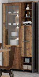 Vitrine Clif in Old Used Wood Shabby mit Betonoptik grau Vitrinenschrank Vintage 62 x 205 cm Highboard