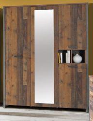 Jugendzimmer Kleiderschrank Clif in Old Used Wood Shabby mit Betonoptik grau 4-türig Kinderzimmer 156 x 205 cm