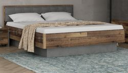Bettanlage Clif Binou in Old Used Wood Shabby mit Betonoptik grau Doppelbett Liegefläche 180 x 200 cm