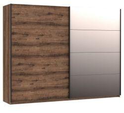 Schwebetürenschrank Jacky in Eiche / Script Schlammeiche Kleiderschrank 2-türig mit Spiegel 270 x 210 cm
