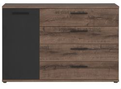 Kommode Jacky in Eiche / Script Schlammeiche Schwarzeiche Sideboard 125 x 83 cm