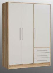 Kleiderschrank Jupiter in Sonoma Eiche hell und weiß matt Drehtürenschrank 3-türig 145 x 200 cm