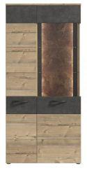 Vitrine Kalomira in Bramberg Fichte und Betonoptik grau Vitrinenschrank inkl. LED Beleuchtung 85 x 204 cm Highboard