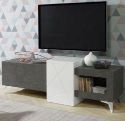 TV-Lowboard Jalida in Hochglanz weiß und Betonoptik dunkelgrau TV-Unterteil 170 x 56 cm Fernsehtisch