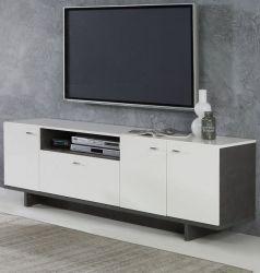 TV-Lowboard Makaria in Hochglanz weiß und Betonoptik dunkelgrau TV-Unterteil 174 x 58 cm Fernsehtisch