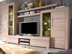 Wohnzimmer: Wohnwand Boom Sonoma Eiche sägerau hell (310 x 215 cm) inkl. LED-Beleuchtung