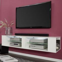 TV-Lowboard Henry in weiß Glanz TV-Unterteil wahlweise hängend oder stehend 140 x 30 cm