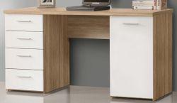 Schreibtisch Net in Sonoma Eiche und weiß Laptoptisch mit Schubkästen für Homeoffice und Büro 145 x 76 cm