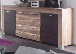 Wohnzimmer: Sideboard Boom Nussbaum Satin, Touchwood dunkelbraun (176 x 79 cm)