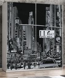 Schwebetürenschrank Plakato in weiß mit Motivdruck New York Kleiderschrank 2-türig 170 x 190 cm