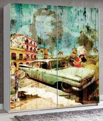 Schwebetürenschrank Plakato in weiß mit Motivdruck Cuba Kleiderschrank 2-türig 170 x 190 cm