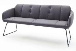 Sitzbank Tessera in Grau Kunstleder und Kufengestell Anthrazit lackiert Küchenbank Polsterbank 180 cm