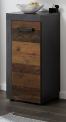 Badezimmer Unterschrank Cancun / Indy in Old Used Wood Design mit Matera grau Bad Kommode 36 x 81 cm