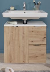 Badezimmer Waschbeckenunterschrank Concept1 in Asteiche / Eiche und weiß Badmöbel 60 x 64 cm Badschrank