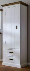 Garderobenschrank Gomera in Akazie massiv Struktur weiß lackiert Landhaus Schuhschrank 60 x 200 cm Türanschlag links