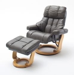 Relaxsessel Calgary in schlamm Leder und Natur mit Hocker Funktionssessel 90 x 104 cm Schlafsessel Fernsehsessel