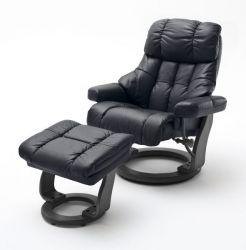 Relaxsessel Calgary XXL in schwarz Leder mit Hocker Funktionssessel bis 180 kg Schlafsessel Fernsehsessel
