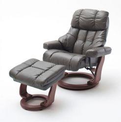 Relaxsessel Calgary XXL in schlamm grau Leder und Walnuss mit Hocker Funktionssessel bis 180 kg Schlafsessel Fernsehsessel