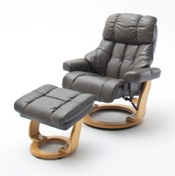 Relaxsessel Calgary XXL in schlamm Leder und Natur mit Hocker Funktionssessel bis 180 kg Schlafsessel Fernsehsessel