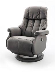 Relaxsessel Calgary L in schlamm und schwarz Leder Funktionssessel bis 130 kg Schlafsessel Fernsehsessel 77 x 111 cm