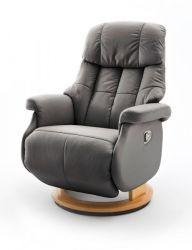 Relaxsessel Calgary L in schlamm grau und Natur Leder Funktionssessel bis 130 kg Schlafsessel Fernsehsessel 77 x 111 cm