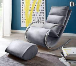 Relaxsessel Schaukelsessel York in grau mit Hocker Funktionssessel 67 x 111 cm Schlafsessel Fernsehsessel