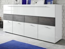 Sideboard Sorato Hochglanz weiß Lack mit Eiche grau Kommode 161 x 85 cm - Lagerware
