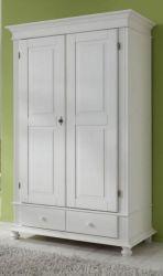 Dielenschrank Montana Kiefer weiß lasiert massiv 108 x 199 cm Garderobenschrank 2-türig - Lagerware