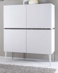 Highboard Sovana weiß matt echt Lack und Anthrazit original Italien 123 x 153 cm - Sofort lieferbar -