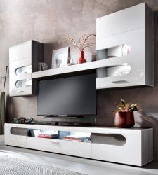 Wohnwand Bolero 4-teilig in Hochglanz weiß mit Sardegna grau Rauchsilber Schrankwand 240 x 205 cm