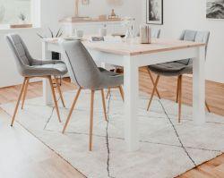 Esstisch Bergen in weiß und Artisan Eiche Landhaus Küchentisch ausziehbar 160 / 215 x 90 cm