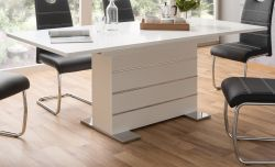 Esstisch Mantova in weiß und Chrom Säulentisch ausziehbar 160 / 200 x 90 cm