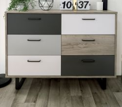 Schubladenkommode Orlando in Eiche grau mit Anthrazit, Weiß und Grau Kommode Tricolor 120 x 86 cm Sideboard