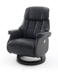 Relaxsessel Calgary XL in schwarz Leder elektrisch verstellbar Funktionssessel bis 150 kg Fernsehsessel 82 x 111 cm