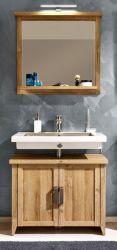 Badmöbel Set 2-teilig Canyon in Eiche / Alteiche Badkombination 75 x 191 cm Waschbeckenunterschrank und Spiegel