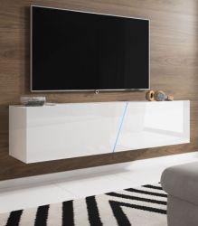 TV Lowboard Space in weiß Hochglanz Lack TV Unterteil hängend / stehend 160 cm mit LED