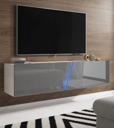 TV Lowboard Space in grau Hochglanz Lack TV Unterteil hängend / stehend 160 cm mit LED