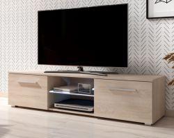 TV-Lowboard Earth in Sonoma Eiche TV-Unterteil 140 x 36 cm inkl. LED Beleuchtung Fernsehtisch