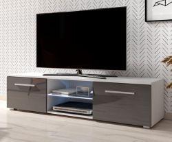 TV Lowboard Earth in grau Hochglanz und weiß mit LED Beleuchtung 140 x 36 cm