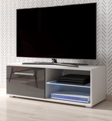 TV Lowboard Earth in grau Hochglanz und weiß mit LED Beleuchtung 100 x 36 cm