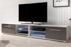 TV Lowboard Earth in grau Hochglanz und weiß mit LED Beleuchtung 200 x 36 cm
