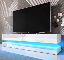 TV Lowboard Bird in weiß Hochglanz 2-teilig 140 x 45 cm hängend mit Beleuchtung